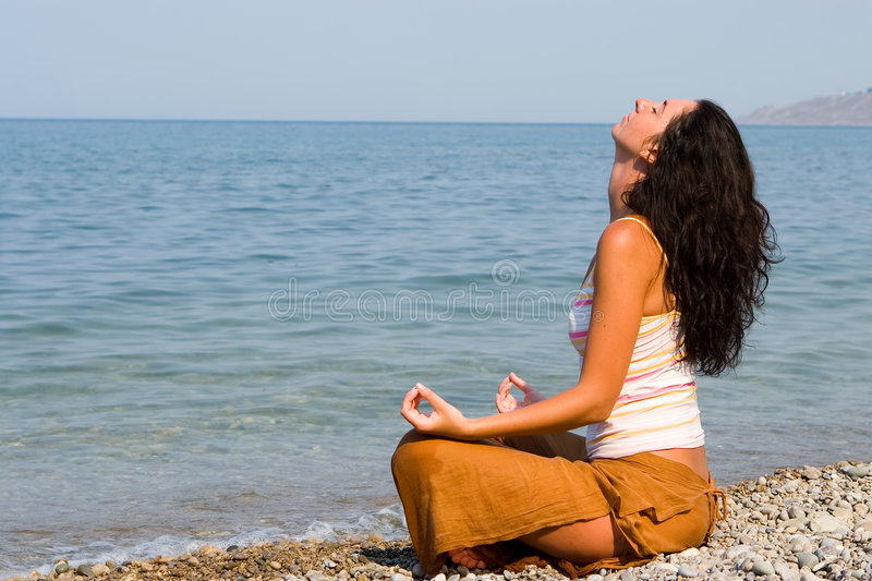 Download Woman Meditation In The Beach Stock Image - Image: 7632075
