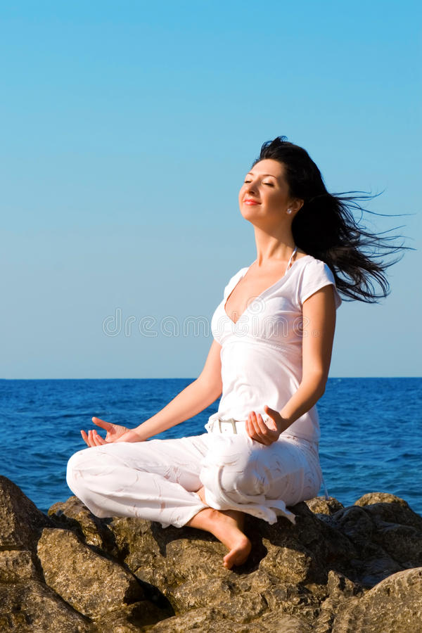 Woman Meditation In The Beach Royalty Free Stock Image