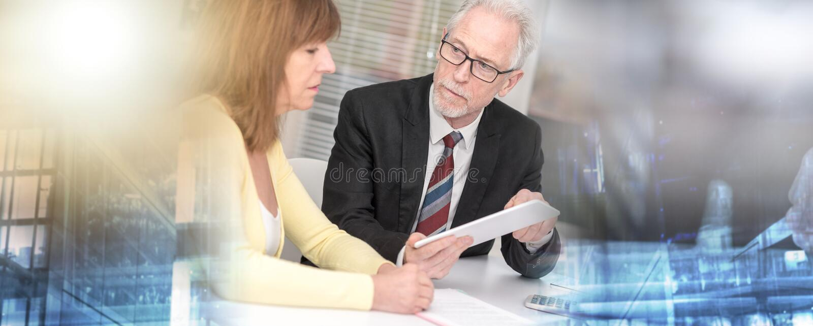 Woman meeting a consultant for advices; multiple exposure royalty free stock photography