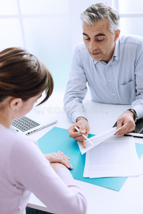 Woman meeting a consultant stock image