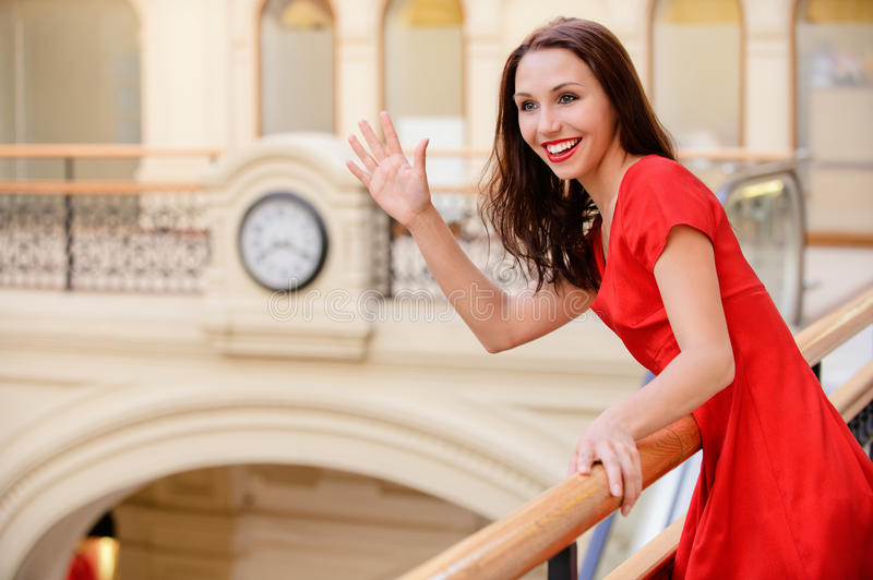 Download Woman meets friend stock image. Image of halls, handrail - 14424533