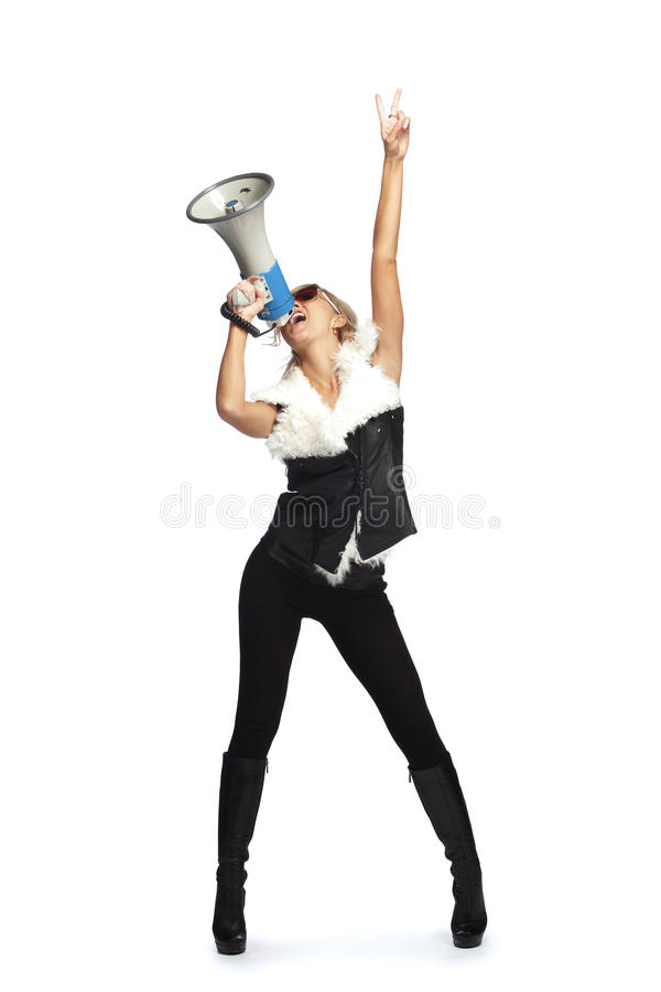 Download Woman with megafone stock photo. Image of beauty, concept - 23177270