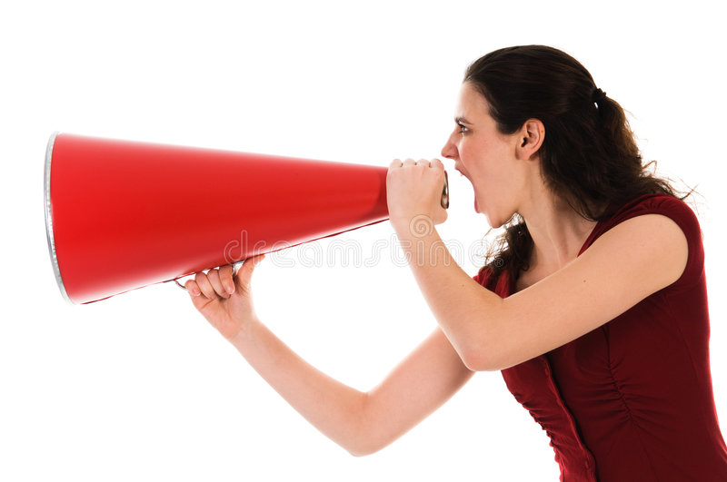 Woman and Megaphone stock images