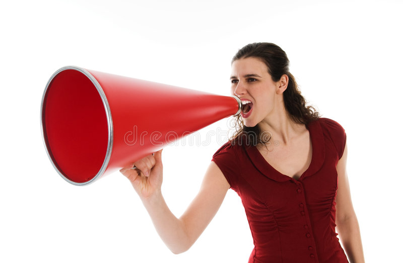 Woman and Megaphone stock photo