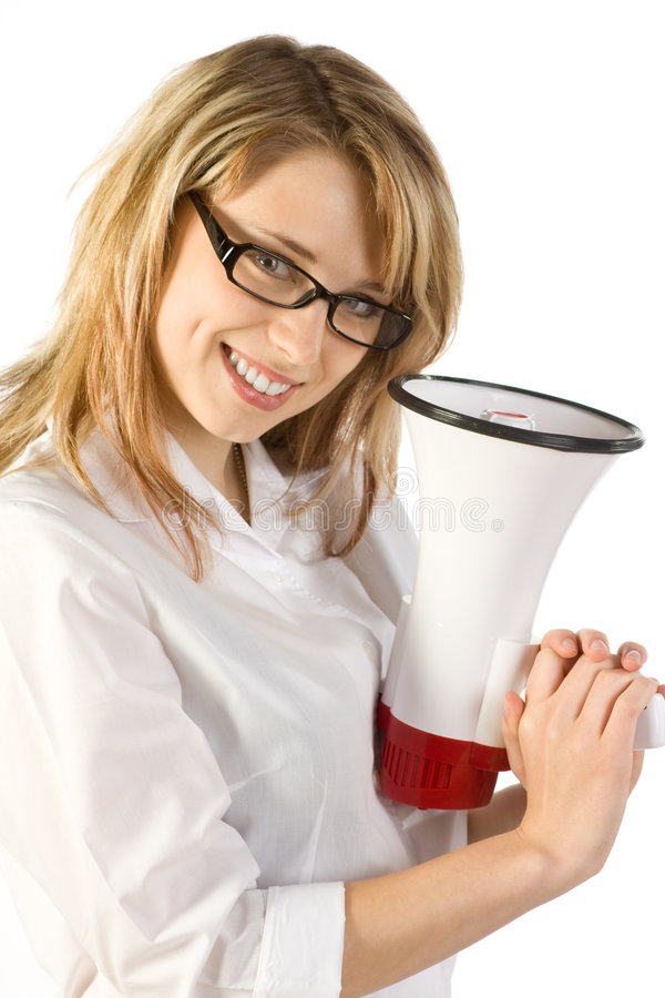 Woman with Megaphone. A young blond woman holding a megaphone, isolated on a white background stock photography