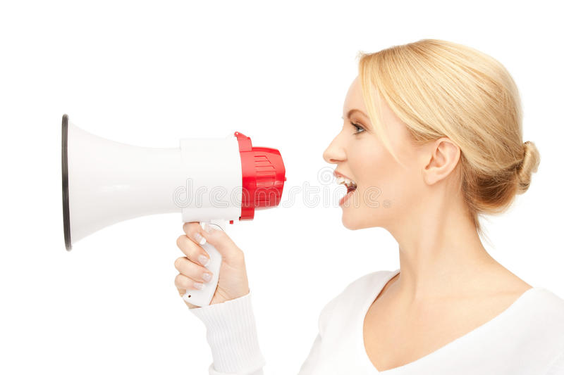Woman with megaphone. Bright picture of beautiful woman with megaphone stock images