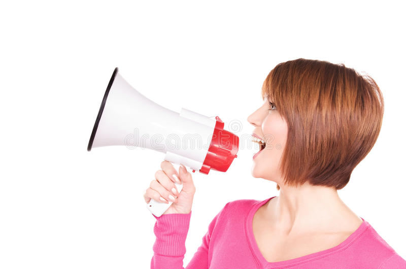 Woman with megaphone. Picture of woman with megaphone over white stock photos