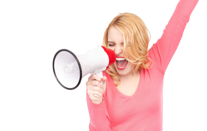 Woman with megaphone. Picture of woman with megaphone over white stock photo