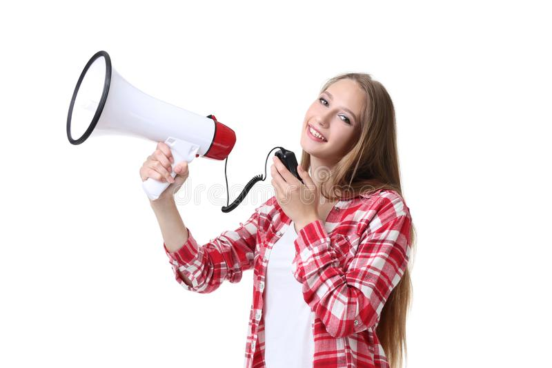 Woman with megaphone. Young woman with megaphone on white background stock photos