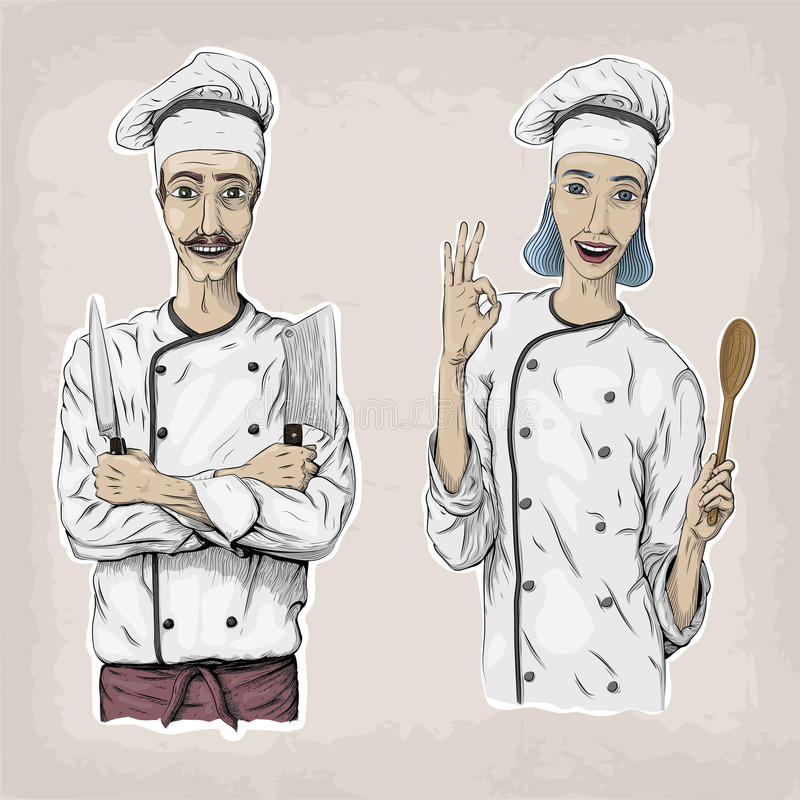 Woman and men caucasian cook chef worker in chef`s jacket cap wi. Th happy smile portrait. Vector closeup square beautiful colorful black linear illustration stock illustration