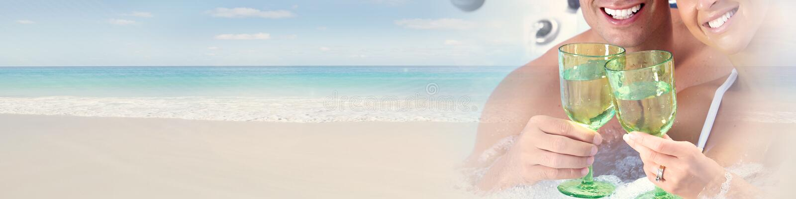 Young couple on beach. Woman and men happy couple sunbathing on the beach stock photos
