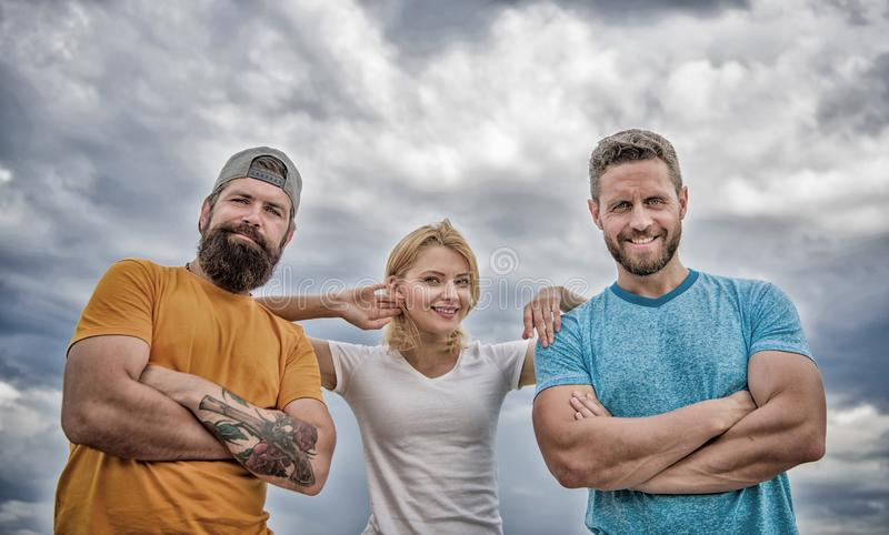 Woman and men look confident while stay close each other like team. Confident in teammates. Feel comfortable with royalty free stock images