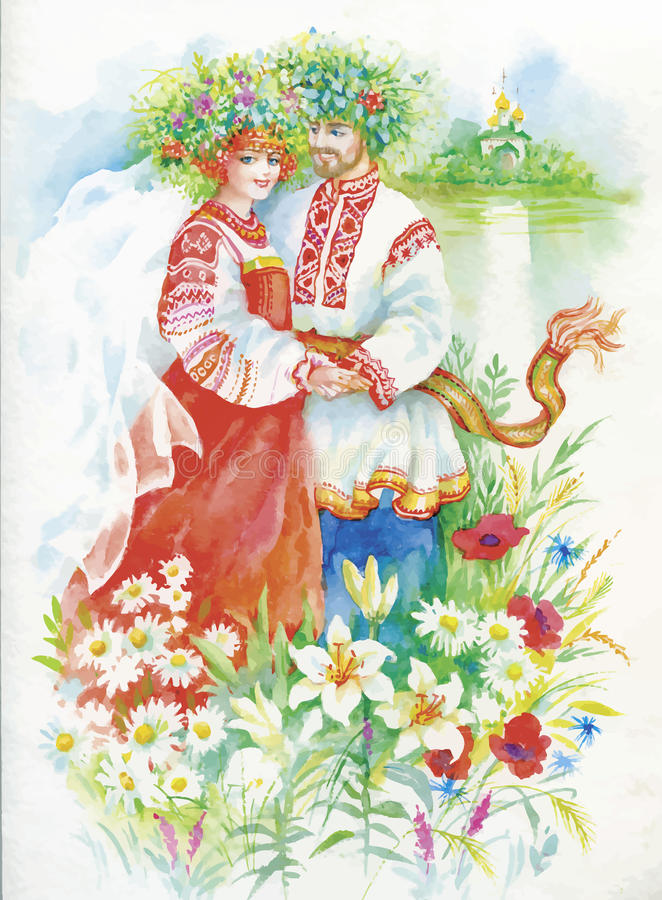 Woman and men in national costumes and wreaths on the river bank. Watercolor illustration vector illustration