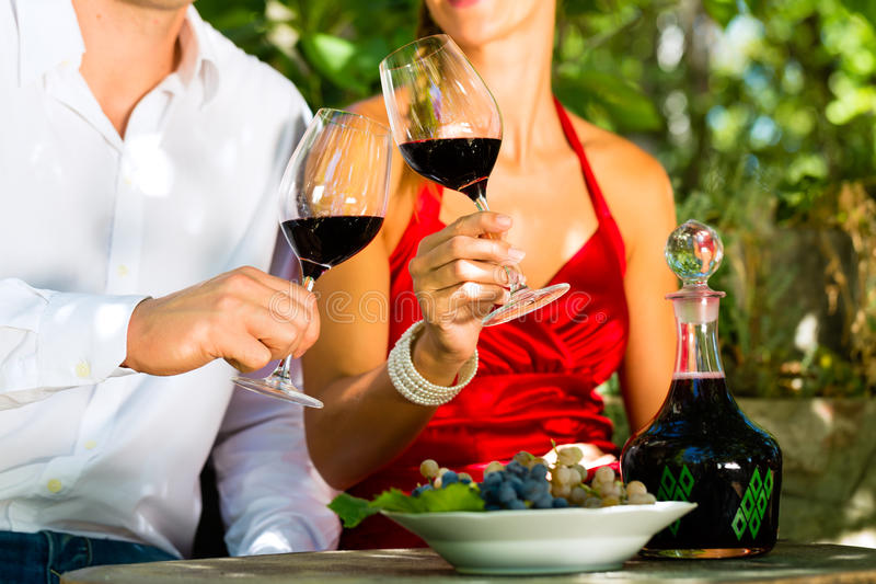 Download Woman And Man In Vineyard Drinking Wine Stock Image - Image of smile, green: 30003585
