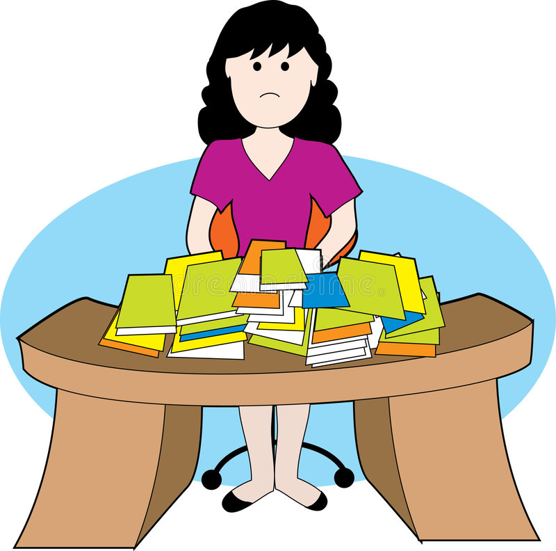 Woman with messy desk. A woman frustrated with lots of papers and messy desk vector illustration