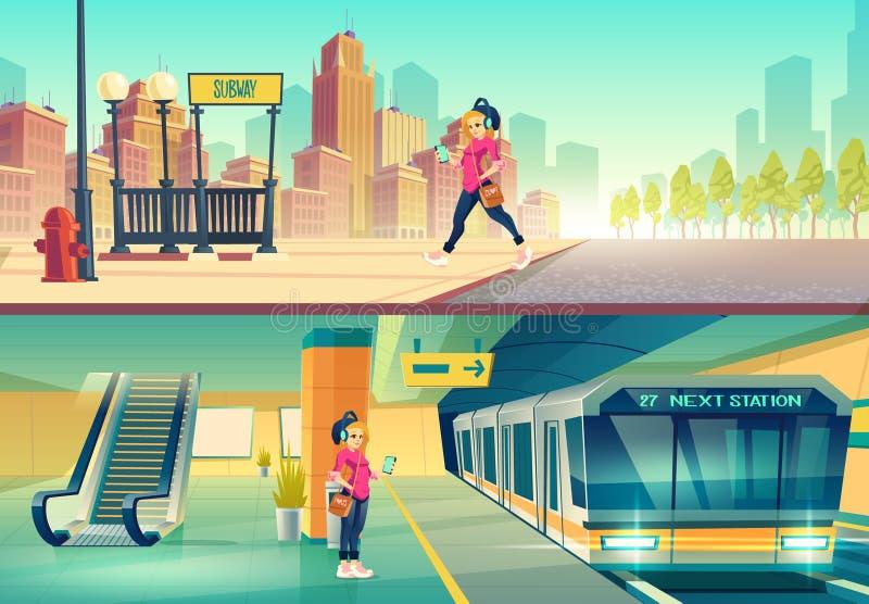 Woman at metro station. metropolitan platform. Woman at metro station. Relaxed girl listen music in headset going to subway entrance, stand on tube platform royalty free illustration
