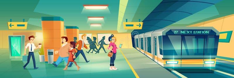 Woman at metro station. metropolitan platform. Woman at metro station. Relaxed girl listen music in headset going to subway entrance, stand on tube platform stock illustration