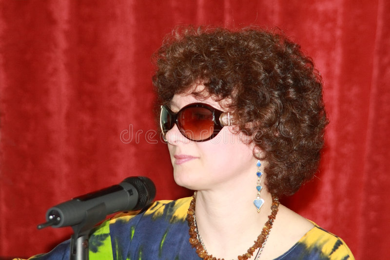 Download Woman with a microphone stock photo. Image of performance - 2305240