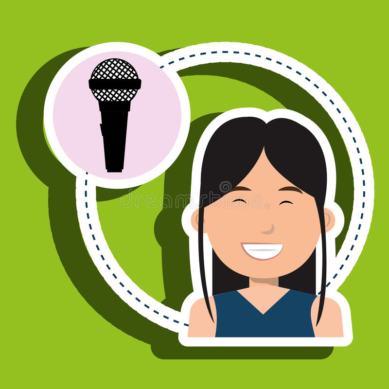 Woman microphone audio speaker. Illustration eps 10 vector illustration