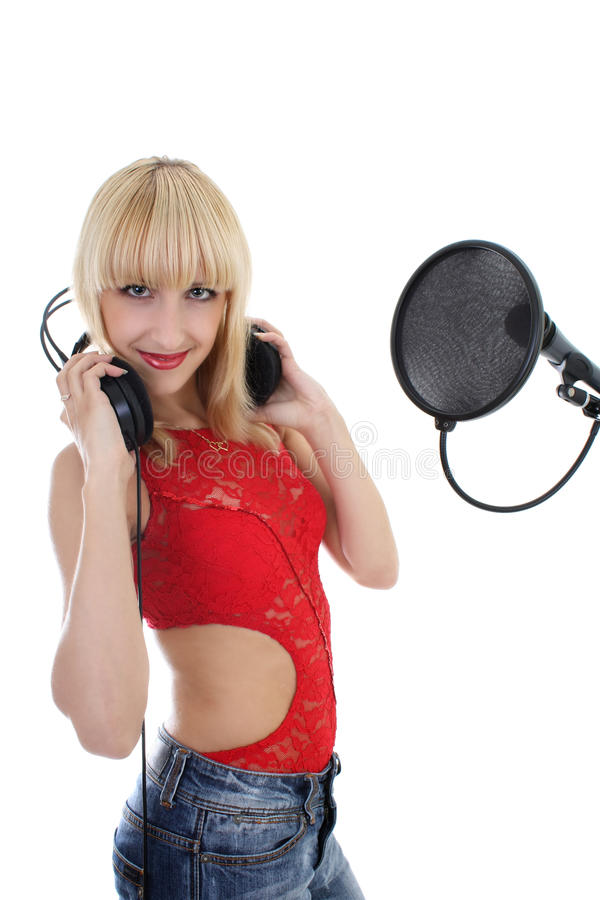 Download Woman With Microphone And Headphones Stock Image - Image: 16096831