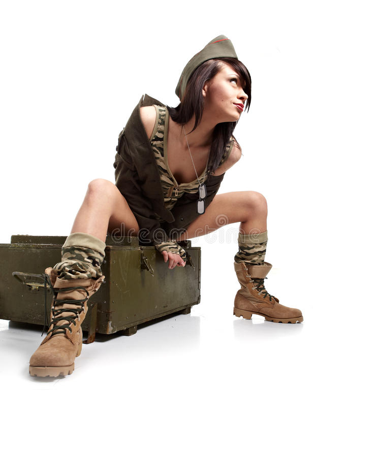 Download Woman in military clothes. stock photo. Image of beautiful - 20158226