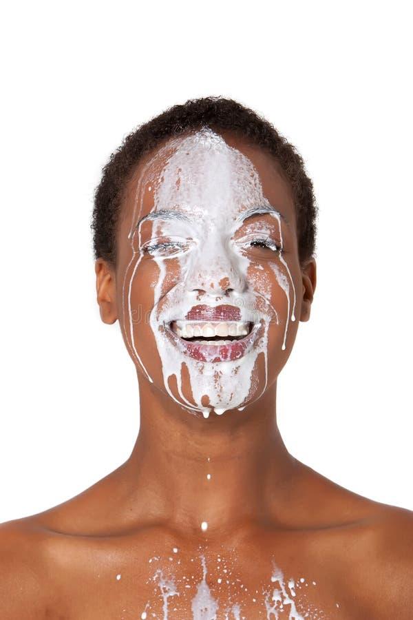 Woman with milk stock photos