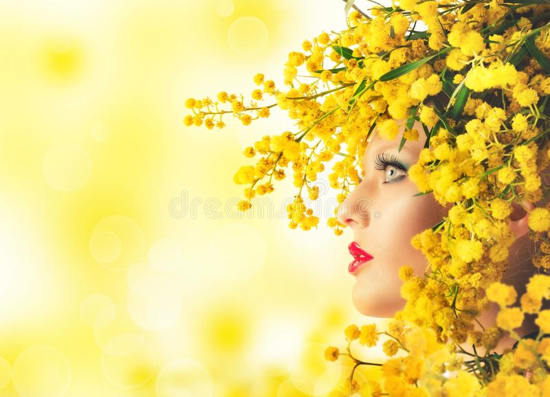 Woman mimosa beauty. Nature beauty makeup and style with mimosa royalty free stock images