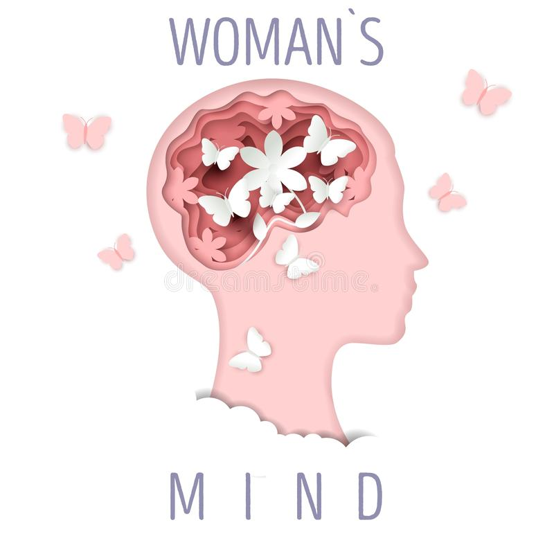 Woman mind, vector illustration in paper art style royalty free illustration