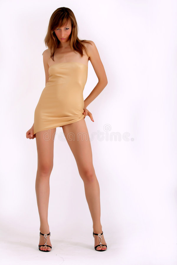 Woman in mini dress royalty free stock photo