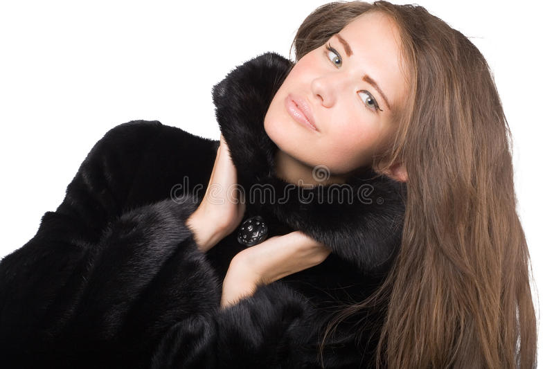 Download Woman in mink coat stock image. Image of lady, happy - 21480595