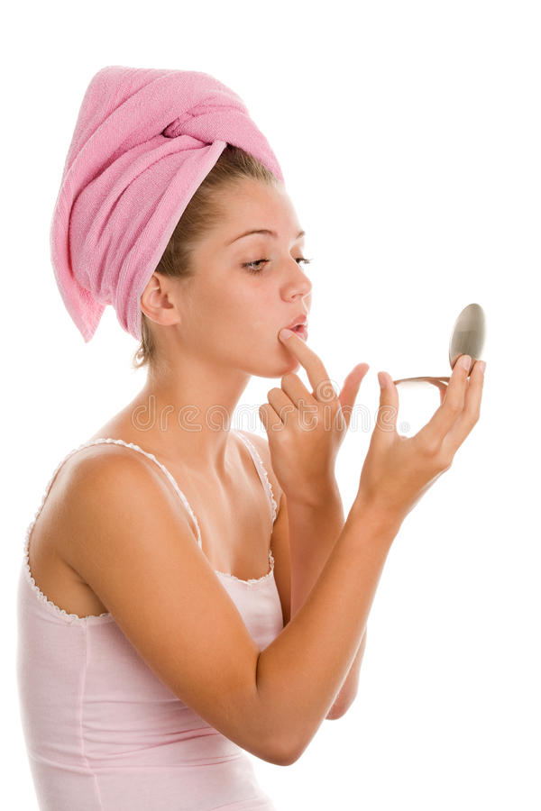 Download Woman with mirror stock image. Image of acne, cosmetic - 23237065