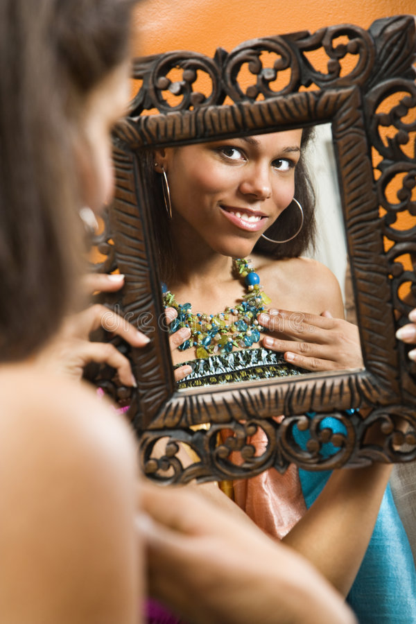 Download Woman in mirror. stock image. Image of attractive, 070924k0109 - 3532723