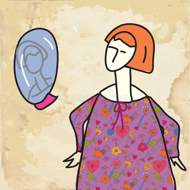 Woman And Mirror Funny Card On Paper Stock Photo