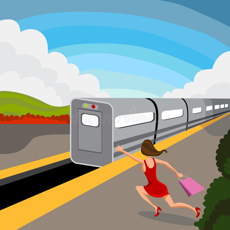 Download Woman Misses Train stock vector. Illustration of chasing - 42274661