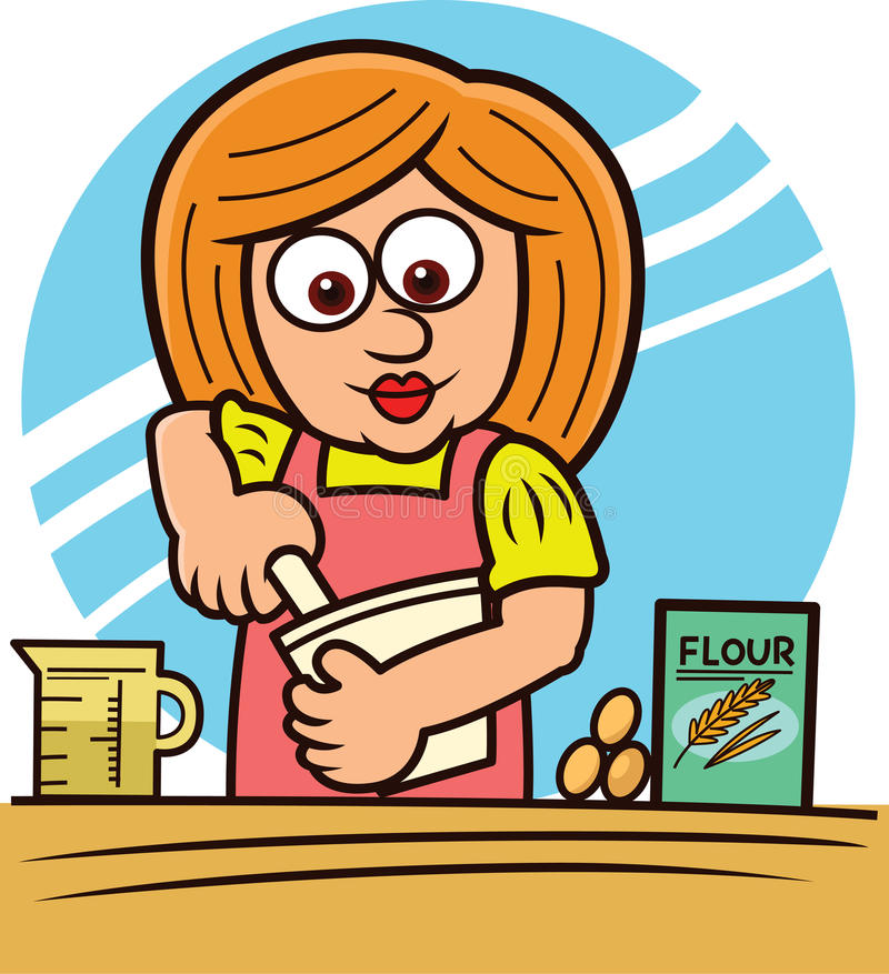 Woman mixing dough in a bowl cartoon illustration stock illustration