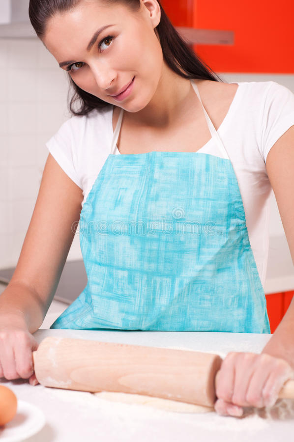 Download Woman Mixing Dough On The Table Stock Image - Image: 23268001