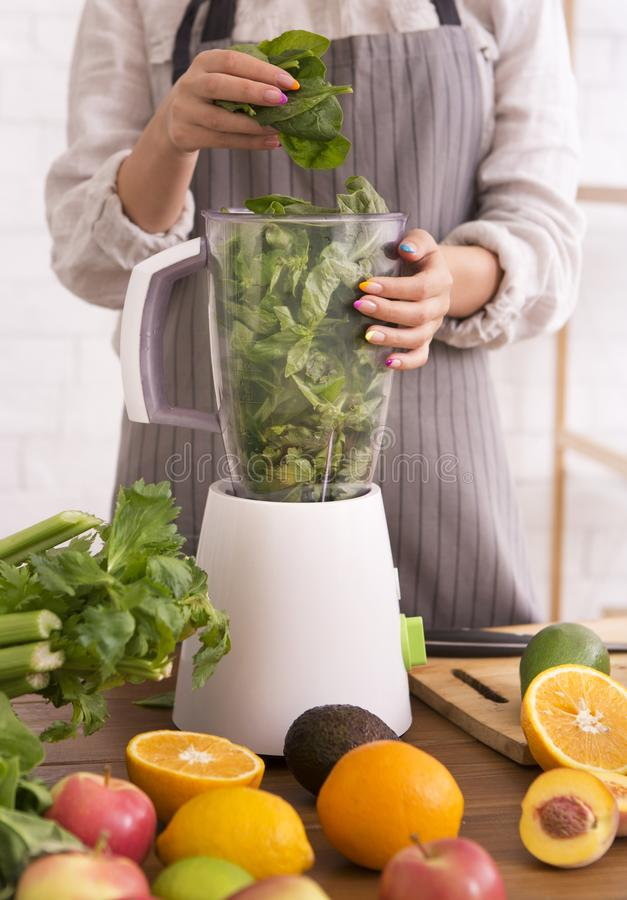 Woman mixing fresh fruits and vegetables in blender for cooking healthy drink stock photography