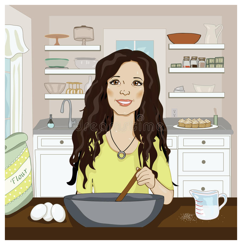 Woman mixing in the kitchen vector illustration