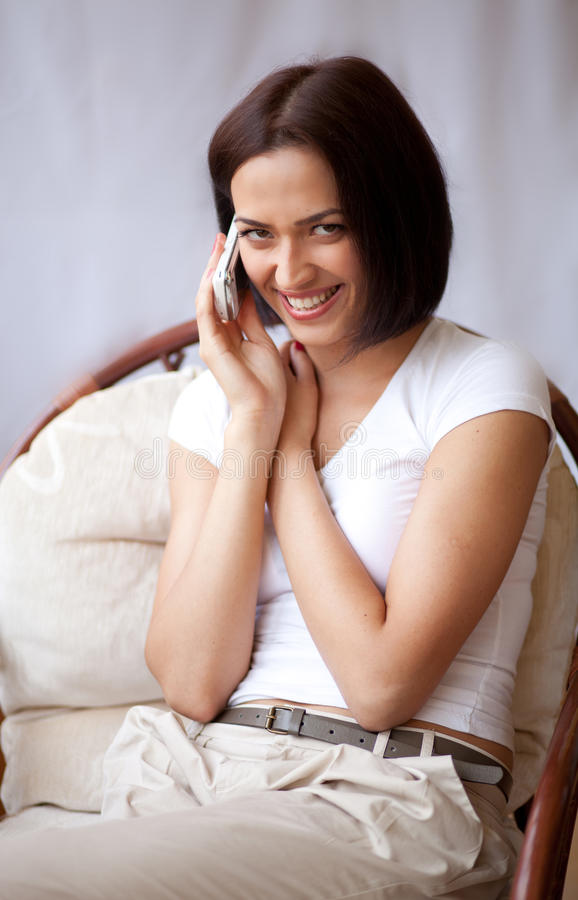 Download Woman with mobilephone stock image. Image of counter - 21412043
