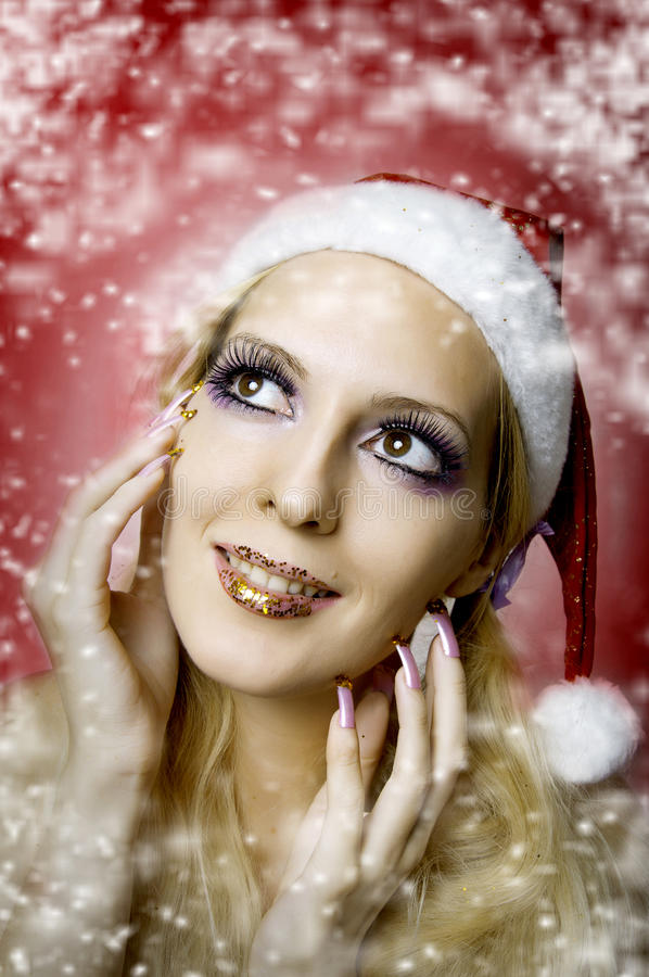 Free Woman Model. Christmas Bright Make-up Stock Photos - 21637013