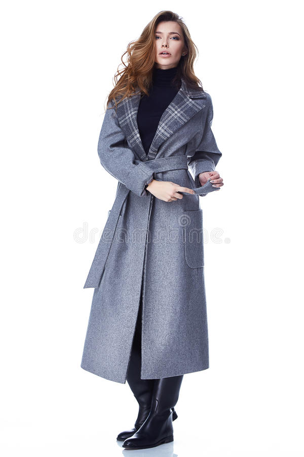 Woman model clothes fashion style beautiful. Beautiful woman lady wear casual style outerwear wool cashmere coat trench gray color pretty face dark natural hair stock images