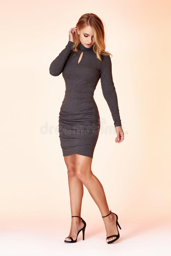 Woman model fashion style grey skinny dress beautiful secretary diplomatic protocol office uniform stewardess air hostess business. Lady perfect body shape stock images