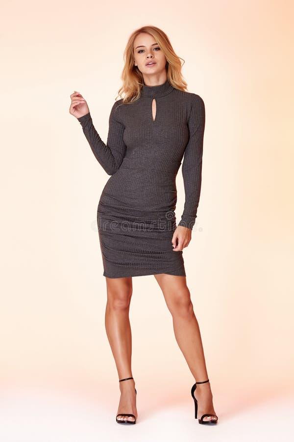 Woman model fashion style grey skinny dress beautiful secretary diplomatic protocol office uniform stewardess air hostess business. Lady perfect body shape stock photography