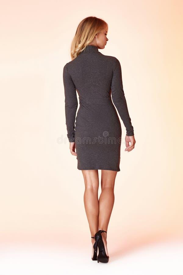 Woman model fashion style grey skinny dress beautiful secretary diplomatic protocol office uniform stewardess air hostess business. Lady perfect body shape royalty free stock images
