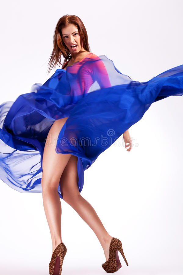 Download Woman Model In A Fluttering Dress Screaming Stock Photo - Image of back, fluttering: 26587114