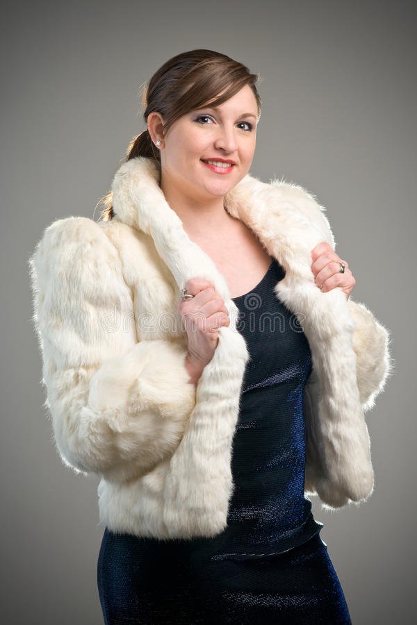 Download Woman Model Wearing White Fur Jacket Stock Photo - Image: 12733942