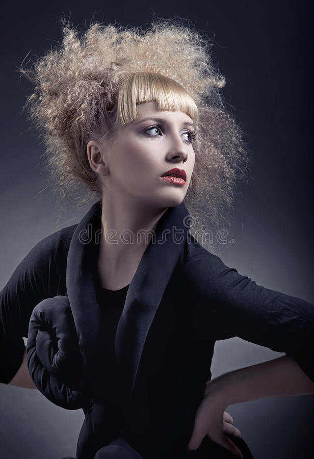 Woman with modern hairstyle royalty free stock photos