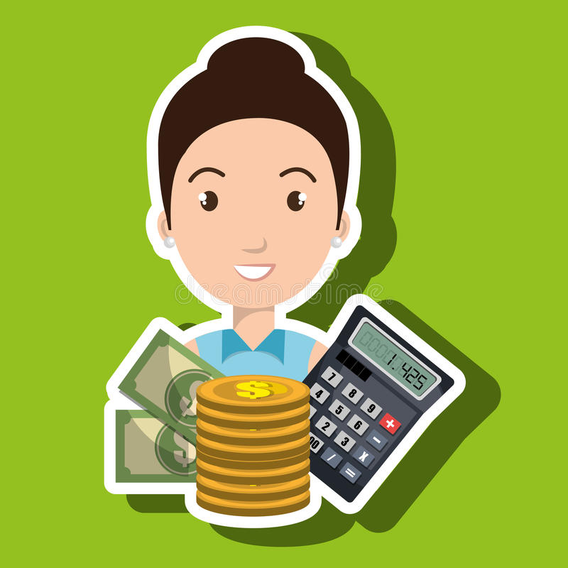 Woman money coins calculator. Illustration eps 10 royalty free illustration
