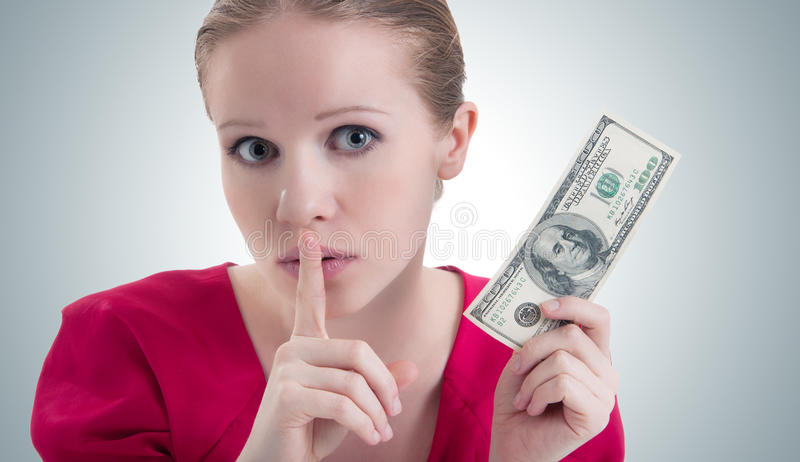 Woman with money, dollars says stock photo