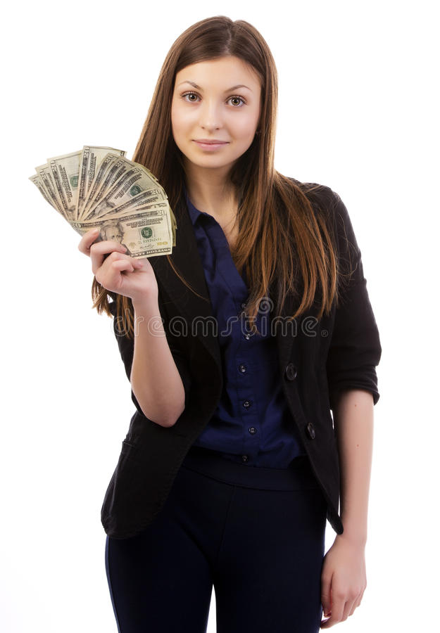 Woman With A Money Fan Stock Photo